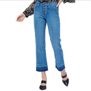 Paige Atley Distressed Ankle Flare Jeans b497